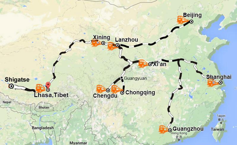 Take trains to Lhasa, Tibet
