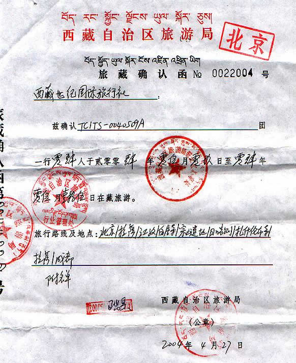Tibet permit or Tibet entry permit