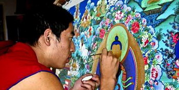 A Monk Artist Drawing Thangka