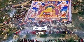 Display of the Huge Thangka of Buddha in Drepung