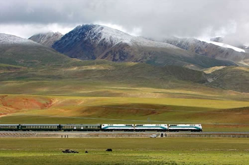 Tibet train against the spring scenery