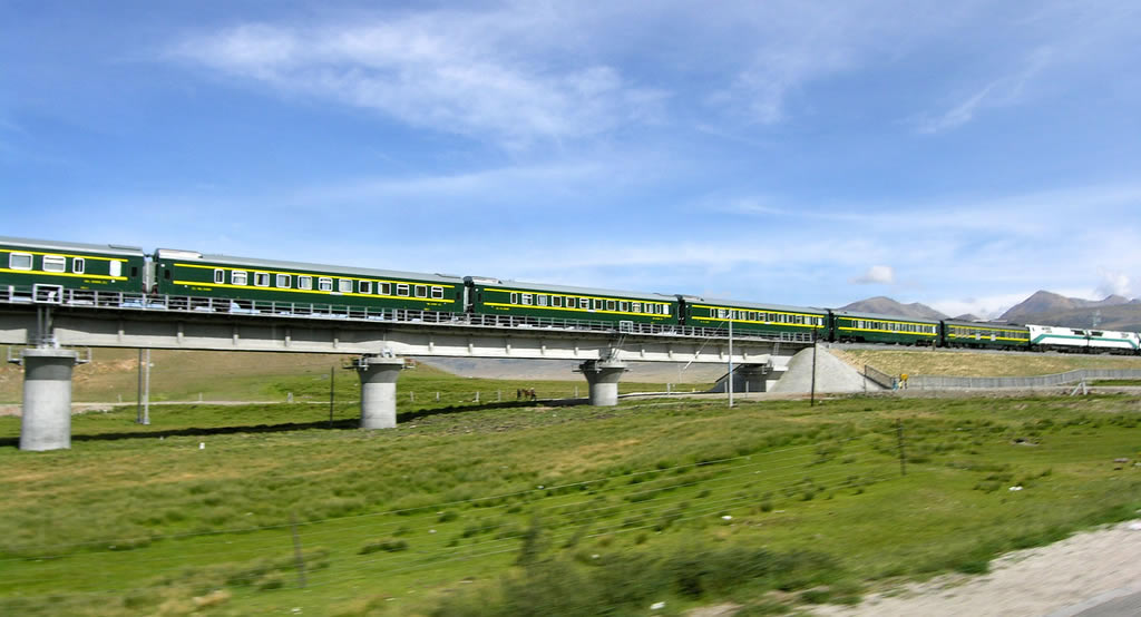 Tibet train image in summer