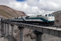 A modern train runing on the Qinghai-Tibet railway going to Lhasa