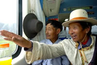 First time for the Tibetans taking a train on the roof of the world