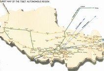 Road map of Tibet region